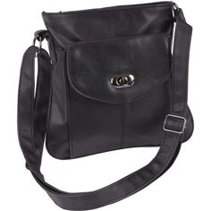 $10.43. Embassy Black Solid Leather Purse with Front Pocket Twist Closure