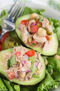 Avocado Filled Canned Tuna Ceviche Salad a lighter lunch option that's full of nutrients and flavor. I received free samples of Chicken of the Sea Chunk Light for the purpose of this post and created this simple, healthy, and low calorie lunch recipe. ad @chickenofthesea