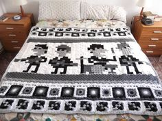 Andy Rash's illustration of The Beatles was turned into a beautiful blanket made from crocheted granny squares by Silvia Usón.visions of the Doctor and Tardis floating in my head now. Pixel Crochet Blanket, Crochet Quilt, Crochet Blocks, Crochet Blankets, Crochet Afghans, Granny Square Crochet Pattern, Crochet Squares, Crochet Granny, Granny Squares