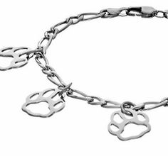 Paw Print Charm Bracelet Stainless Steel Puppy Dog Cat Chain Silver #Unbranded #Charm