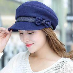 9e6ff4064f8 Bow felt newsboy cap for women elegant warm wool blend winter hats