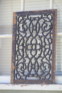 Easy wall art - vintage grate - this would be beautiful on a big open wall! Antique Cast Iron Heat Register Grate Architectural Salvage Historic Building Hartford, CT