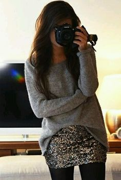 Short glitter skirt and sweater look cute together for a cold day