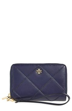 Tory Burch 'Robinson Stitch' Leather Smartphone Wallet available at #Nordstrom