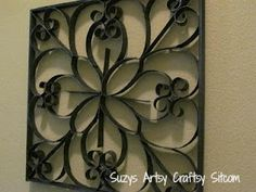 How to make metallic looking wall art with toilet paper tubes!  Free patterns!