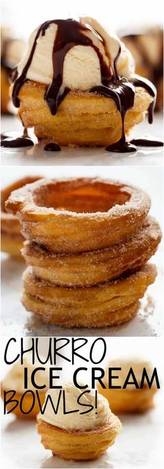 Churro Ice Cream Bowls! Crispy on the outside, soft on the inside, and exactly how a Churro should be...but without deep frying! | https://cafedelites.com