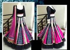Black and pink lehenga, will prefer for the frilled net at bottom