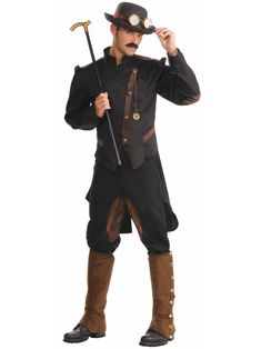 You will look like the epitome of Steampunk gentry when you put on the Steampunk Gentleman Costume. The stylish cut of this jacket and the combination of riding pants makes this the complete look of an ideal Steampunk gentleman. Style Steampunk, Steampunk Men, Steampunk Clothing, Steampunk Fashion Men, Steampunk Couture, Steampunk Cosplay, Steampunk Wedding, Mens Steampunk Costume, Medieval Clothing Men