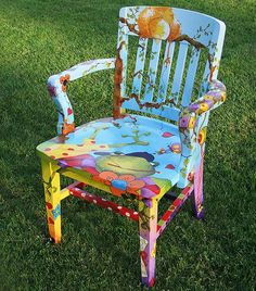 Hand painted chair by Sanneart Hand Painted Chairs, Whimsical Painted Furniture, Hand Painted Furniture, Funky Furniture, Colorful Furniture, Paint Furniture, Repurposed Furniture, Furniture Projects, Rustic Furniture