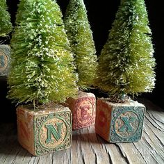 3 Victorian Blocks & Bottle Brush Trees Wooden Toy Building