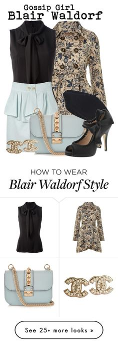 """Gossip Girl- Blair Waldorf"" by darcy-watson on Polyvore featuring Jolie Moi, Dolce&Gabbana, Flutter By Jill Golden, Valentino, Betsey Johnson, Chanel, xoxo, blairwaldorf, gossipgirl and tvshow"
