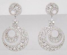 Dramatic 11.03 Diamond & 18K White Gold Teardrops & Circles Drop Dangle Earrings