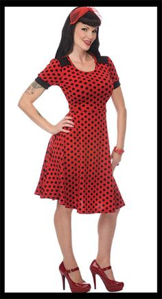 NEW - Knit Red Polka Dot Dress by Living Dead Souls / VooDoo Vixen - only $32.99!