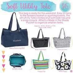 Thirty-One Soft Utility Tote. This bag is BIG! Perfect for those Beach Items or blankets for a picnic. www.mythirtyone.com/djester