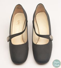 Vintage Black Shoes with Rhinestone Buckle by by BloomersAndFrocks, $68.00