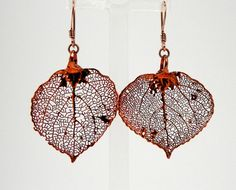 Iridescent Copper Aspen Leaf Earrings by MaryMorrisJewelry on Etsy, $28.00