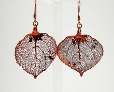Iridescent Copper Aspen Leaf Earrings by MaryMorrisJewelry on Etsy, $28.00