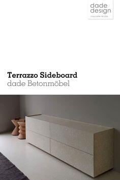 #Beton #Sideboard im aussergewöhnlichen Design mit #Terrazzo Oberfläche. Für unsere Terrazzo Oberflächen wird die Zementoberfläche in 6-7 Arbeitsgängen geschliffen, um das Korn sichtbar zu machen. Durch den Schleifvorgang wird die Oberfläche gleichzeitig geschlossen und versiegelt.
