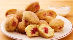 If you love doughnuts how about making these jam filled doughnut holes , they look so good don't they , great to make over a weekend to have with those...