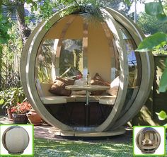 It might look like aliens have landed in your garden, but this is actually the latest in outdoor living - the Rotating Sphere Lounger. The Lounger, with a diameter of is formed from 10 sections of pressure-treated pine laminates,. Outdoor Office, Outdoor Rooms, Outdoor Gardens, Outdoor Living, Outdoor Decor, Kids Outdoor Spaces, Outdoor Privacy, Modern Outdoor Furniture, Garden Furniture