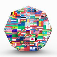 Flags of Nations Collage Acrylic Award flag, nation, banner, award, gift, acrylic, octagon, country, zazzle, smallbiz, ecommerce, dww25921