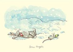 """""""Snow Angels"""" by Anita Jeram Winter Illustration, Cute Illustration, Detailed Drawings, Cute Drawings, Anita Jeram, Bunny Art, Snow Angels, Christmas Pictures, Cute Pictures"""