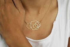 RESERVED for XM- wild thing HEXAGONS golden pendant