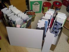 """Upcycle corrugated plastic yard signs. Cut into strips -5""""- and wrap fabric into bolts. Repurpose sewing organization"""