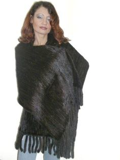 Large Mahogany Knitted Mink Shawl wPockets *** Read more reviews of the product by visiting the link on the image.