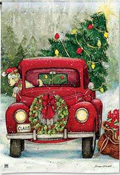 Garden Flag, Christmas, Bringing Home the Tree, Americana, Red Truck Christmas Red Truck, Christmas Scenes, Christmas Pictures, Christmas Art, Winter Christmas, Vintage Christmas, Christmas Ornaments, Christmas Doormat, Xmas