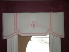 White with Baby Pink trim and monogram. A wonderful accent for a nursery, or powder room