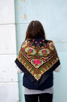 Vintage Ukrainian shawl Russian Scarf russian shawl by bestLuba