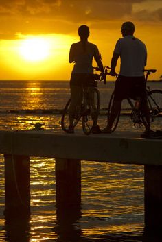 Cycling as the sun sets in Florida Keys