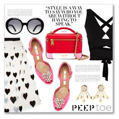 """""""Pedi Time: Peep-Toe Pumps"""" by dressedbyrose ❤ liked on Polyvore featuring Alice + Olivia, Brian Atwood, Proenza Schouler, Prada, Moschino and Tod's"""