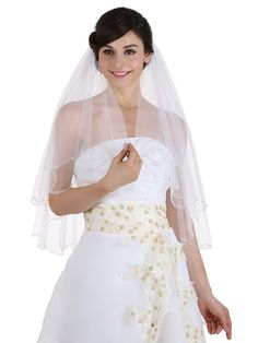 2T 2 Tier Beaded Scallop Edge Center Gathered Circular Veil Elbow Length 30' * Want to know more, click on the image.