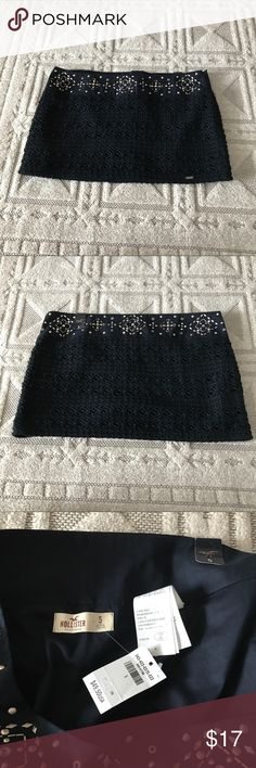 NWT Hollister Black Crocheted Mini Skirt Size 5 New With Tags Black Mini Skirt from Hollister.  This one has a Crocheted overlay and Jewels and Studs in the waist. Hollister Skirts Mini