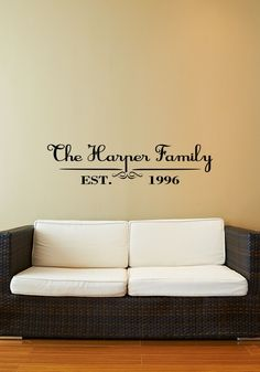 Custom Last Name  First Names Vinyl Decal Set Family Vinyl Wall - Custom name vinyl wall decals   how to remove