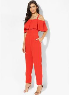,Cold_Shoulder_orange_Jumpsuit ,orange_love ,gold_mettalic_heels ,side_pockets ,party_wear  http://www.jabong.com/top-shop-Cold-Shoulder-Bardot-Jumpsuit-2160447.html?pos=80