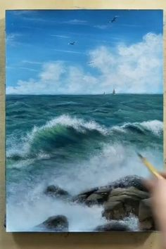 Canvas Painting Tutorials, Painting Techniques, Painting Lessons, Painting Tips, Landscape Art, Landscape Paintings, Ocean Paintings, Acrylic Landscape Painting, Blue Painting