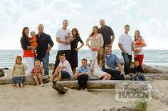 famille étendue, femme, homme, fille, garçon, bébé, orange, bleu, blanc, été
