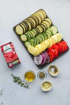 Briam (Greek Vegetable Bake) - Little Sunny Kitchen Greek Vegetables, Baked Vegetables, Veggies, Vegetable Side Dishes, Vegetable Recipes, Vegetable Bake, New Cooking, Cooking Recipes, Pie Recipes