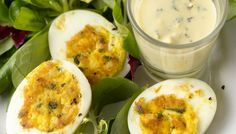 Pan-Crisped Deviled Eggs on French Lettuces