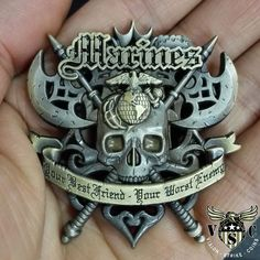 You best friend or your worst enemy. The US Marines Battle Axe Coin is available for our motivated. Marine Corps Coins for sale! Marine Corps Shirts, Us Marine Corps, Marine Corps Tattoos, Marine Tattoo, Once A Marine, Marine Mom, Badges, Military Challenge Coins, Military Pins