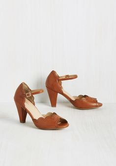 When Life Gives You Lessons Peep Toe Heel in Caramel, #ModCloth