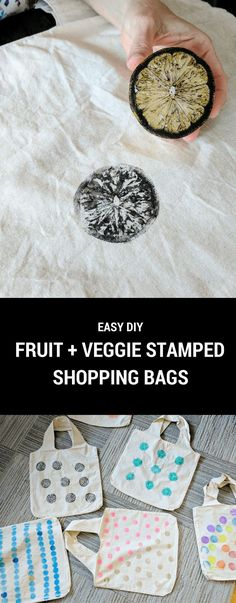 fabric stamping Fruit and veggie stamping is easy and fun! Veggie stamp your own eco-friendly DIY reusable grocery bags and say goodbye to both paper and plastic. Diy Reusable Bags, Reusable Grocery Bags, Diy Bags, Mason Jar Diy, Mason Jar Crafts, Vegetable Shop, Diy Papier, Simple Bags, Diy For Kids