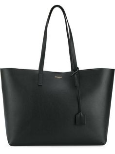 Saint Laurent Perforated Logo Calfskin Leather Shopper - Black In 1000 Black Bag Sewing Pattern, Saint Laurent Tote, Big Tote Bags, Laptop Bag For Women, Black Leather Tote Bag, Shopper Tote, Clutch, Cloth Bags, Luxury Bags
