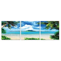 Furinno Senic Coconut Tree Scenery 3 Panel Canvas on Wood Framed Wall Art - F089CT50