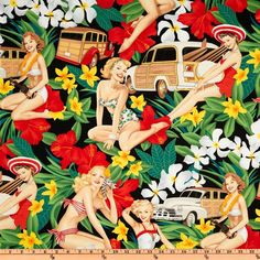 Pin Ups Aloha Girls Black from @fabricdotcom  Designed for Alexander Henry, this cotton print fabric features tropical pin up girls. Perfect for quilting, apparel and home décor accents. Colors include red, orange, bright green, yellow, brown, sand and black.