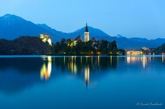 Bled Island and Bled Castle at blue hour, Bled, Slovenia by Frank Fischbach on 500px