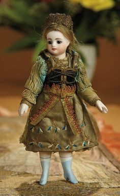 Bread and Roses - Auction - July 26, 2016: Lot #71 All-Original French All-Bisque Mignonette with Silk Costume and Blue Painted Boots